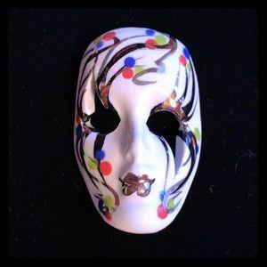Vintage Hand-Painted Mardi Gras Masquerade Brooch